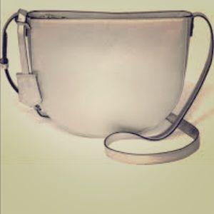 Handbags - Crossbody Silver Metallic Purse Half Moon Circle
